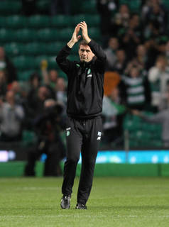 Ronny Deila celebrates victory over Qarabag in the UEFA Champions League