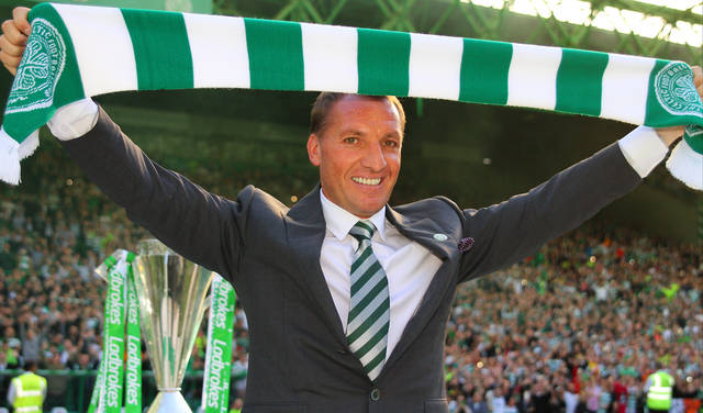 Brendan Rodgers High-Fives Entire Celtic Media Team and Shouts 'Mon the Hoops'